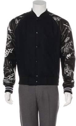 Lanvin 2017 Leather-Trimmed Virgin Wool Varsity Jacket