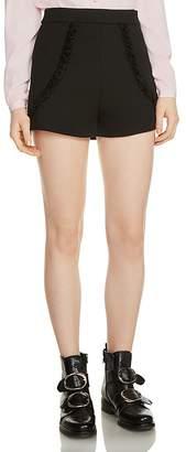 Maje Inala Ruffle-Trim Shorts