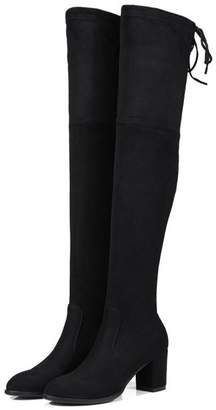 8a72f2e7fd1 MIUINCY Women s Over The Knee Drawstring Block Heel Boots Full Size Small  ...