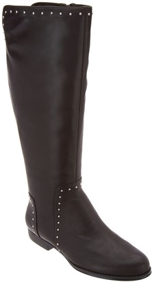 Isaac Mizrahi Live! Wide Calf Studded Leather Riding Boot