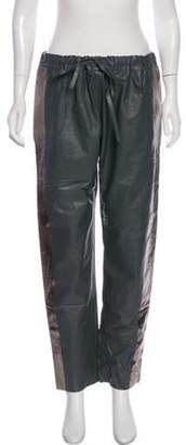 Les Chiffoniers Leather Mid-Rise Straight Pants Grey Leather Mid-Rise Straight Pants