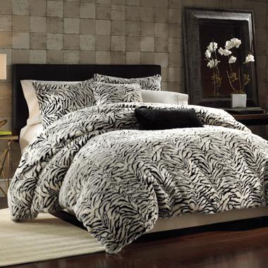 Bed Bath & Beyond White Tiger Faux Fur Twin Duvet Cover Set