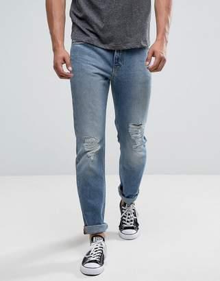 Lee Rider Slim Jeans Mega Rips Light Wash