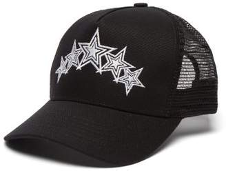 Amiri Five Star Embroidered Canvas And Mesh Cap - Mens - Black