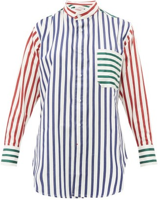 Charles Jeffrey Loverboy Band Collar Striped Cotton Shirt - Womens - White Multi