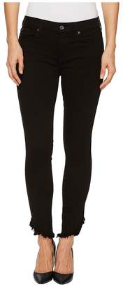 7 For All Mankind The Ankle Skinny w/ Angled Raw Hem in Black Women's Jeans