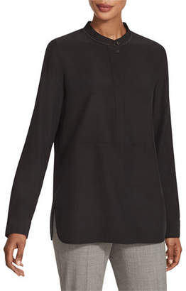Lafayette 148 New York Dree Matte Silk Long-Sleeve Blouse