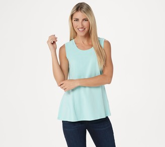 Isaac Mizrahi Live! Scoop-Neck Seamed Peplum Knit Tank Top