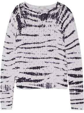 Autumn Cashmere Tie-Dyed Pointelle-Knit Cotton Sweater