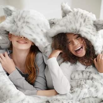 Pottery Barn Teen Fur Hooded Sleeping Bag, Grey Leopard