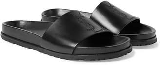 Saint Laurent Embroidered Leather Slides - Black
