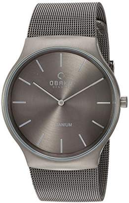 Obaku Men's Titanium Analog-Quartz Watch with Stainless-Steel Strap