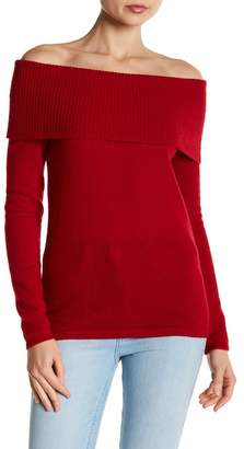 Minnie Rose Ribbed Off-the-Shoulder Cashmere Sweater