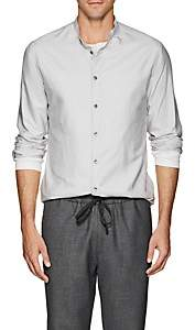 Giorgio Armani Men's Silk Shantung Band Collar Shirt - White