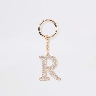 River Island Gold tone rhinestone 'R' keyring