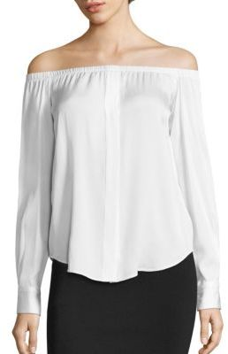 DKNY Off-the-Shoulder Silk Blend Top