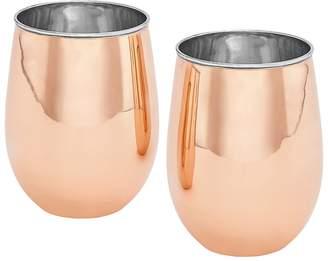 Old Dutch 2-pc. Copper Stemless Wine Glass Set