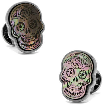 Mother of Pearl Day of the Dead Skull Smoke Cufflinks
