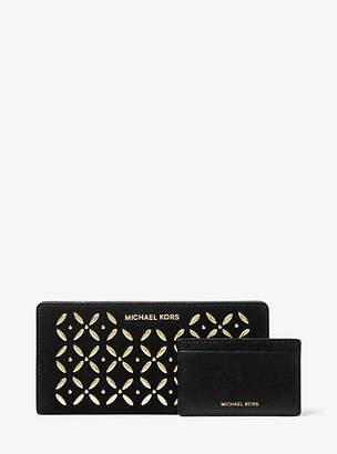 Michael Kors Large Embellished Suede Slim Wallet