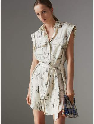 Burberry Landmark Print Silk Shirt Dress , Size: 02