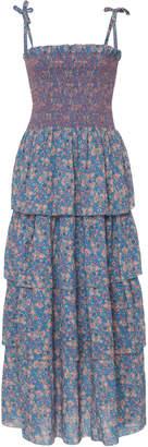 LoveShackFancy Caressa Tiered Floral-Print Maxi Dress