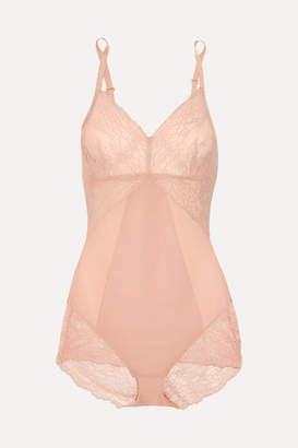 Spanx Spotlight Stretch-tulle And Lace Bodysuit - Neutral