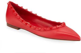 Valentino Rockstud Smooth Calf Leather Ballet Flats