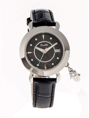 Mother of Pearl BERTHA Bertha Womens Hannah Mother-Of-Pearl Black Leather-Band Watch With Datebthbr5602