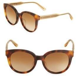 Bottega Veneta52MM Rounded Tortoiseshell Sunglasses