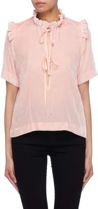 SAM. Cecilie Bahnsen 'Sam' tie keyhole front ruffle velvet T-shirt