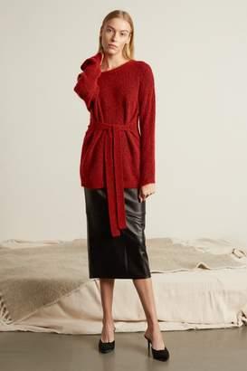 Genuine People High Waist Leather Midi Skirt