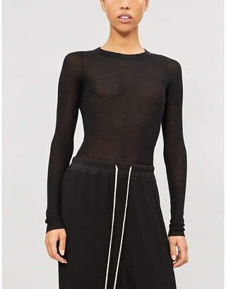 Rick Owens Ladies Black Ribbed Stretch-Jersey Top