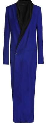 Haider Ackermann Wrap-Effect Satin-Trimmed Silk-Piqué Maxi Dress