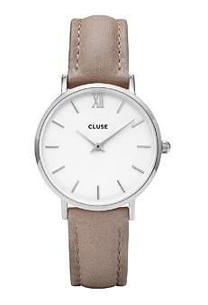 Cluse Minuit Silver White Hazelnut