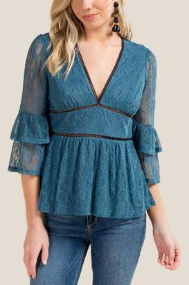 francesca's Kyra Lace Peplum Top - Dark Teal