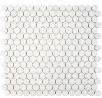 EliteTile SAMPLE - Penny Porcelain Mosaic Floor and Wall Tile in White