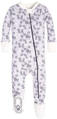 Burt's Bees Dotty Blooms Baby Organic Zip Up Footed Pajamas