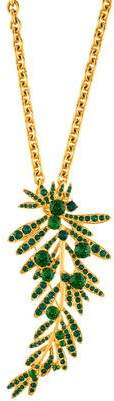 Oscar de la Renta Crystal Tropical Palm Convertible Pendant Necklace