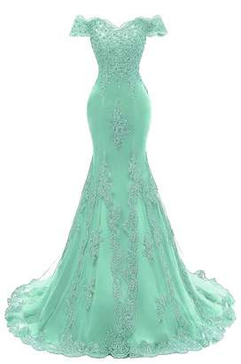 kailiya Women's V Neckline Off-Shouler Beaded Mermaid Evening Gowns Lace Prom Dresses