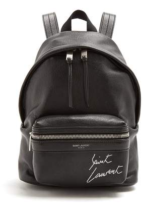 Saint Laurent Toy City logo-embroidered mini leather backpack