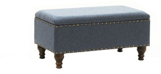 HomePop Storage Bench with Nailhead Trim, Chambray Blue