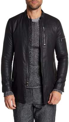 John Varvatos Collection Exposed Zipper Detailed Linen Jacket
