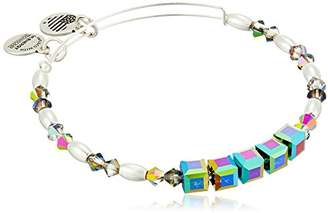 Alex and Ani Swarovski Beaded Mirror Expandable Wire Silver Bangle Bracelet