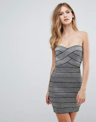 11e6648e188b Qed London QED London Strapless Metallic Bodycon Dress