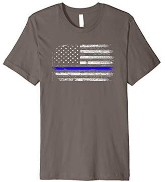 Distressed USA Flag With Blue Line T-Shirt
