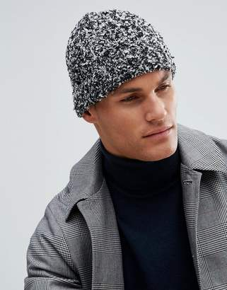 Asos Design Fisherman Beanie In Black & Grey Boucle