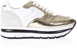 Voile Blanche White & Gold High Sneakers In Leather