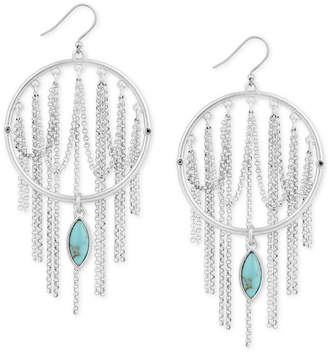 Lucky Brand Silver-Tone Stone Circle & Looped Chain Drop Earrings