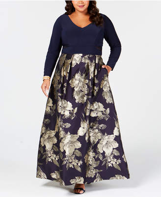 Xscape Evenings Plus Size Printed Mesh-Inset Gown