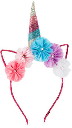Bari Lynn Girls' Crystal Unicorn Horn, Flowers & Ears Headband